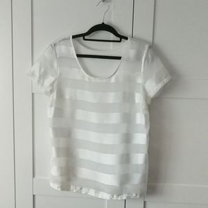 3/$25 Sheer Striped White T-shirt